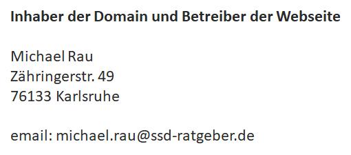 Impressum ssd-ratgeber.de